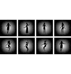 Abstract female silhouettes with background vector