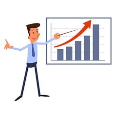 Cartoon businessman presents growth chart vector image