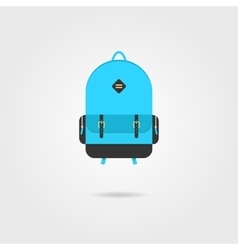 Blue backpack icon with shadow vector