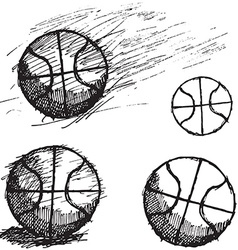 Basketball ball sketch set isolated on white vector