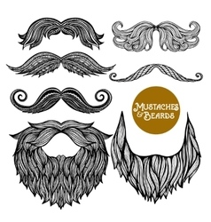 Hand drawn decorative beard and mustache set vector