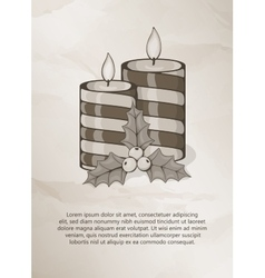 Vintage christmas card with candle and holly vector