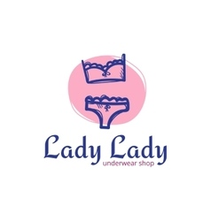 Cute woman underwear logo in doodle sketchy vector
