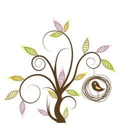 Decorative tree and bird vector