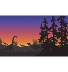 Silhouette of brachiosaurus and iguanodon vector