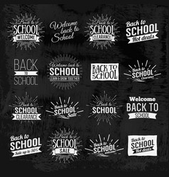 back to school chalkboard lettering vector image vector image