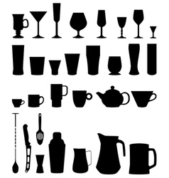 bar glasses cups icon vector image vector image