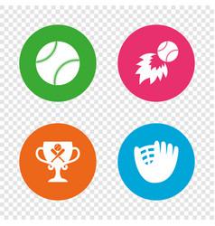 baseball icons ball with glove and bat symbols vector image