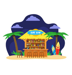 cartoon surf beach bar summer vacation travel vector image