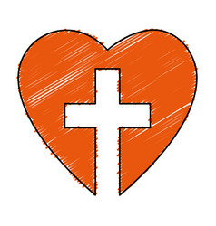 Christian cross with heart isolated icon vector