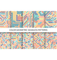 Colorful striped seamless patterns - vector