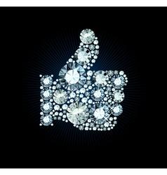 Diamond like thumb up sign vector