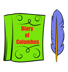 diary of columbus with feather icon icon cartoon vector image