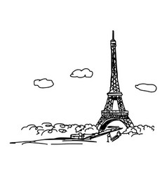 eiffel tower with cityscape and clouds vector image