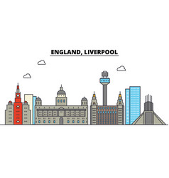 England liverpool city skyline architecture vector