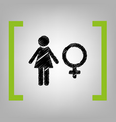 Female sign black scribble vector