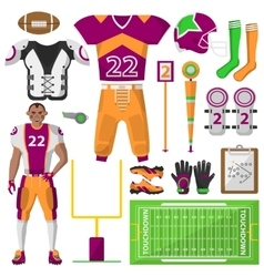 Football icons set sport equipment and uniform vector