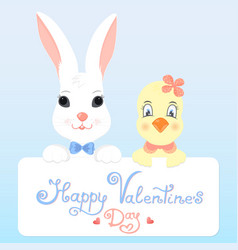 Funny bunny and chicken with a greeting card for vector
