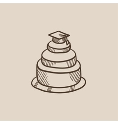 Graduation cap on top of cake sketch icon vector image