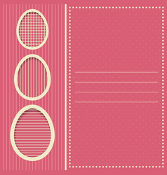 Greeting card with easter eggs pink vector