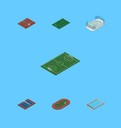 isometric competition set of run stadium american vector image