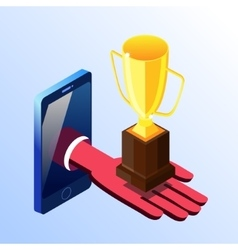 Isometric smartphone showing hand with prize cup vector