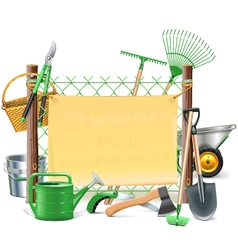 Mesh frame with garden tools vector