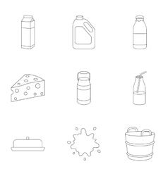 Milk set icons in outline style Big collection of vector image vector image