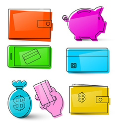 Money Icons Business Symbols Isolated Retro Money vector image vector image