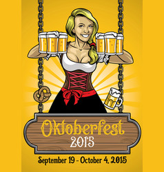 oktoberfest poster with bavarian girl vector image