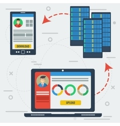 Online server data storage vector image vector image