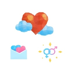 Polygonal heart love valentine vector image
