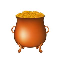 Pot with golden money coins vector