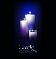 Realistic glowing candles set vector