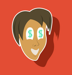 Realistic paper sticker on theme humor money in vector