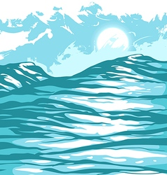 Sea waves against the sky vector