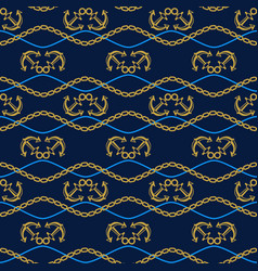 seamless pattern with anchors chains and waves vector image vector image