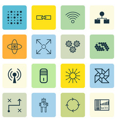 set of 16 machine learning icons includes laptop vector image vector image