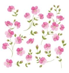 Set of linen flowers elements vector