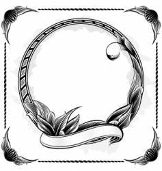 Vintage circle frame vector