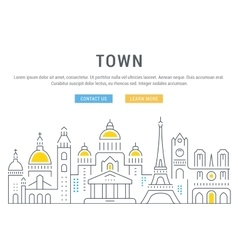Website Banner and Landing Page Old City vector image
