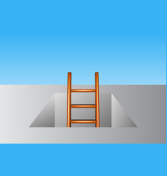 Wooden ladder leading from underground vector