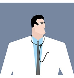 Doctor in white coat Medical worker with vector image