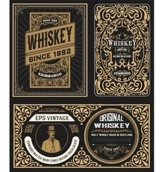 Set of Vintage badge for whiskey packing vector image