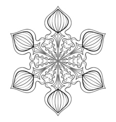 Snow flake in zentangle style doodle mandala for vector