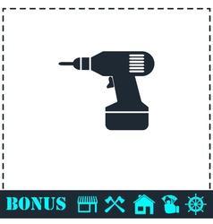 Drill icon flat vector