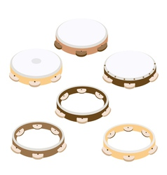 Beautiful six woodentambourine on white background vector