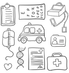 Collection of medical object doodle set vector