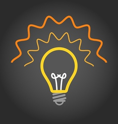 Lighting light bulb on dark background vector