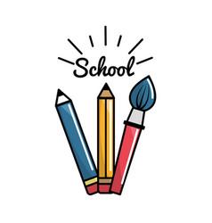 pencil case school tools icon vector image